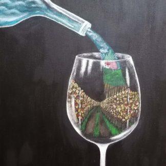 Hideg Andrea Szőlőskert borban című festménye