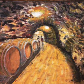 Kovács Judit Préselés után című festménye
