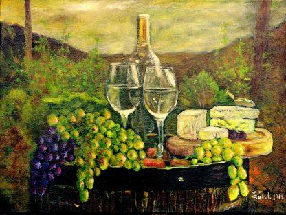 Szűcs Ildikó Csendélet szőlővel, borral c.ímű festménye